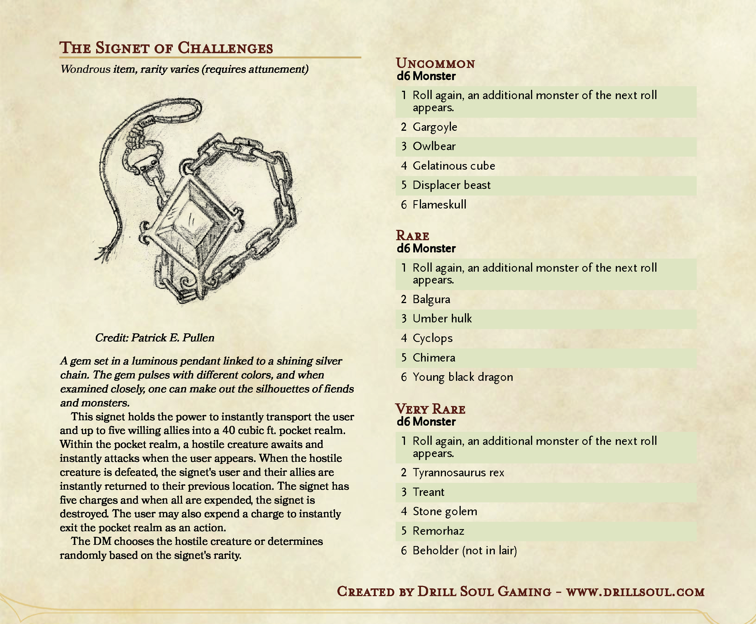 dungeons and dragons homebrew signet of challenges